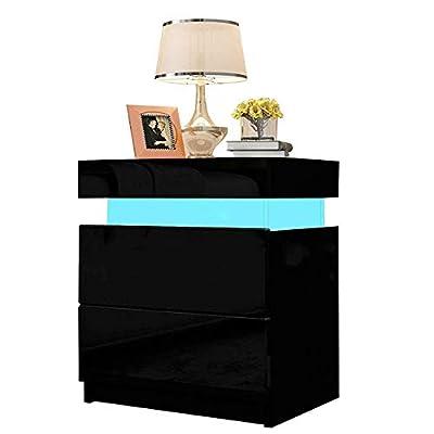 ⭐【Iluminación LED】YOLEO mesa de noche tiene una tira de luz que puede cambiar 16 colores, no solo para evitar comprar luces de noche, sino también para crear una atmósfera maravillosa.(NOTA: No incluye fuente de alimentación 5V1A) ⭐【Diseño de moda】Es...