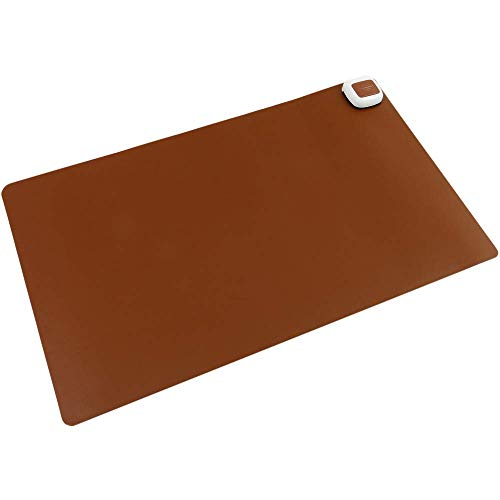 PrimeMatik - Alfombra y Superficie térmico con calefacción para Escritorio Suelo y pies de 60 x 36 cm 65W marrón