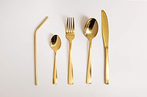 SELB Vajilla de 21 piezas de acero inoxidable para 4 personas, acero inoxidable, apto para lavavajillas, moderno (oro)