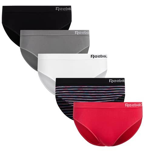 Reebok Women's Underwear - Seamless Bikini Briefs (5 Pack), Size X-Large, Black/White/Pink/Grey