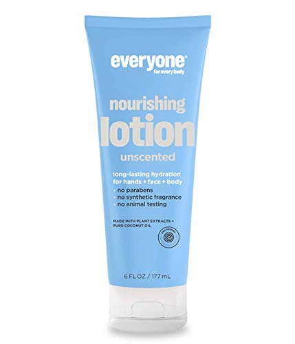 Everyone 3-in-1 Unscented Lotion (Pack of 2) with Vitamin E, Pure Coconut Oil and Matricaria Flower Extract, 6 fl. oz.