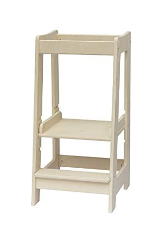 Torre de Aprendizaje Montessori para niños con altura ajustable y barra de seguridad (madera maciza) Madera natural