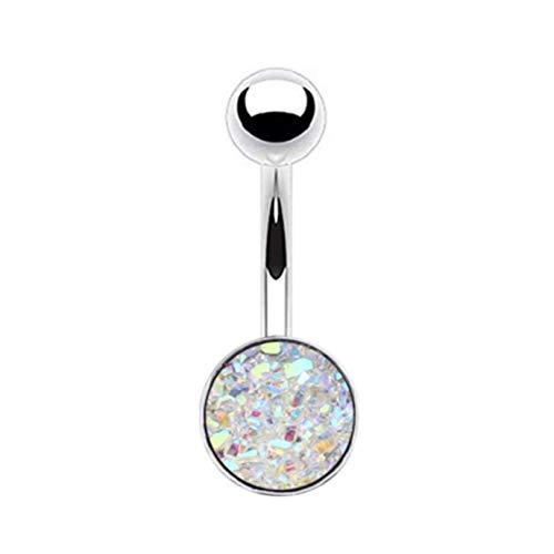 GLJYG Piercing para el ombligo de acero inoxidable con bola de cristal de circonita, joya para mujeres y niñas, color blanco
