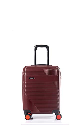 North CASE ABS 8 Wheels CCS Suitcase Luggage Trolley HARDCASE Lightweight Cabin Bag Burgundy-Black S (S, Burgundy - Black)