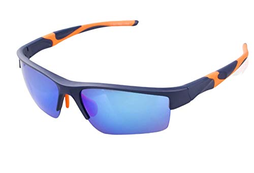 Avoalre Sportsonnebrille Sportbrille Verspiegelte Fahrradbrille Winddicht Sportsonnenbrille Herren, Fahrerbrille Skibrille Snowboard Brille Verspiegelt Schneebrille-Blau