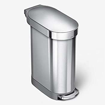 simplehuman 45 Liter / 12 Gallon Slim Hands-Free Kitchen Step Trash Can with Liner Rim Brushed Stainless Steel
