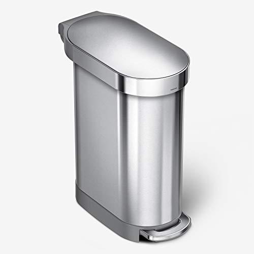 simplehuman, poubelle étroite à pédale, acier inoxydable brossé, 45 litres