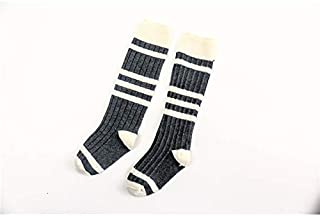 Lovely Socks Children Cotton Socks KidsSpring and Autumn Color Matching Stripe Pattern Mid Tube Socks(Light Grey) Newborn Sock (Color : Grey, Size : S)