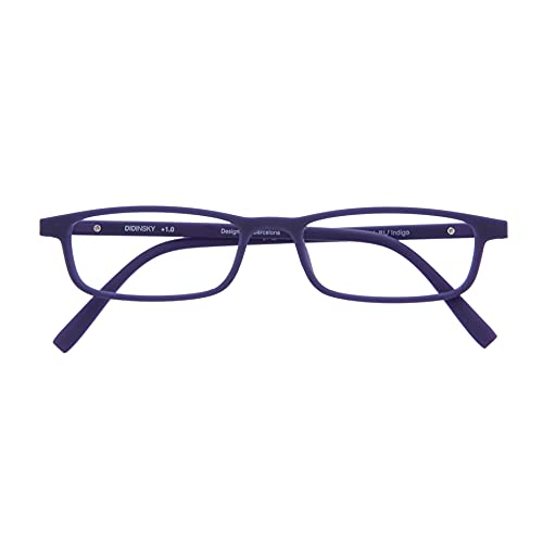 DIDINSKY Gafas de Presbicia con Filtro Anti Luz Azul para Ordenador. Gafas Graduadas de Lectura para Hombre y Mujer. Tacto Goma y Cristales Anti-reflejantes. Indigo +2.0 – ARKEN SCREEN
