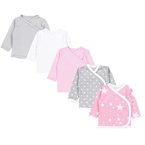 TupTam Unisex Baby Langarm Wickelshirt 5er Set, Farbe: Mädchen 3, Größe: 56