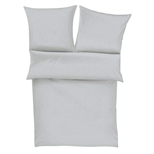 Zeitgeist Flanell Bettwäsche 135x200 cm - einfarbige Biberbettwäsche grau, 100% Baumwolle kuschelig weich und angenehm warm, Set aus Bettbezug 135x200 und Kissen 80x80cm, praktischer Reißverschluss