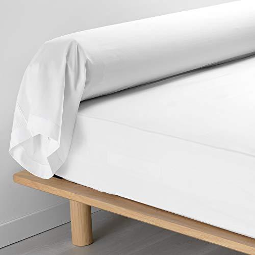 douceur d'intérieur taie de traversin 85 x 185 cm percale uni percaline blanc