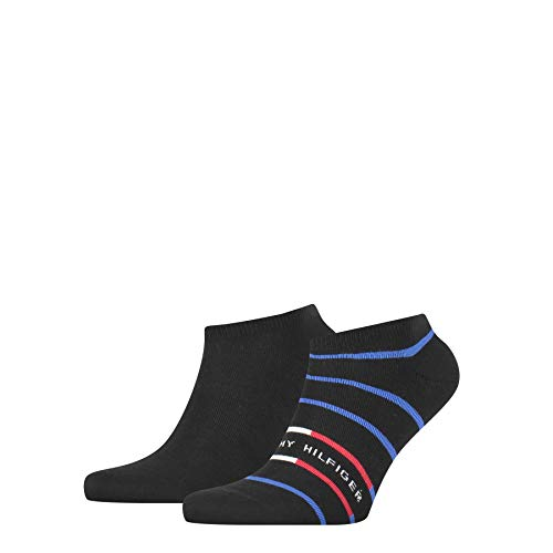 Tommy Hilfiger Mens Breton Stripe Men's Sneaker-Trainer (2 Pack) Socks, Black, 43/46