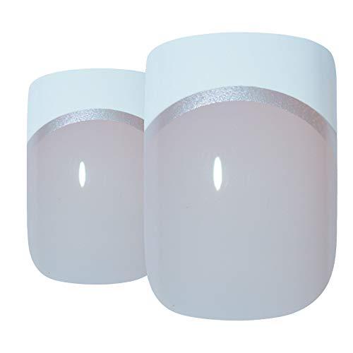 Art bling faux ongles français Manucure Blanc Manicurette 24 Conseils moyen UK