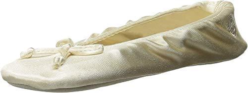 Isotoner Damen Satin Ballerina Slippers Slipper, cremefarben, 38/39 EU