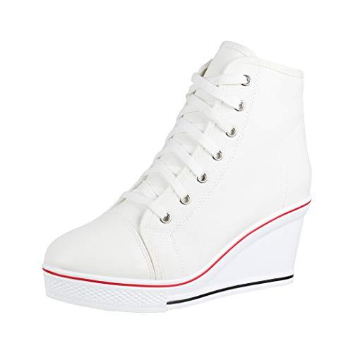 Elara Zapatilla de Deporte Tacón de cuña Unisex Sneaker High Top Chunkyrayan B6986-SP White-38