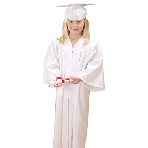 Constructive Playthings CPX-588 White Cap and Gown Graduation Set for Preschoolers and Kindergarteners