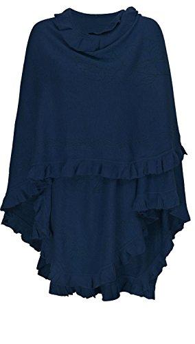 AdoniaMode Damen Poncho extra gross Fein-Strick Cape Stola Schultertuch Überwurf aus Wolle und Viskose Blau
