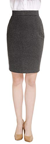 Marycrafts Women's Work Office Business Pencil Skirt M Charcoal