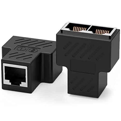 1 par Nueva RJ45 RJ45 Hembra Acoplador 2 en 1 RJ45 1 Hembra a 2 Hembra Adaptador para Ethernet Cat 5 / Cat 6 LAN Extensor de Cable Ethernet Surf en línea al Mismo Tiempo Conector de Red(Negro)