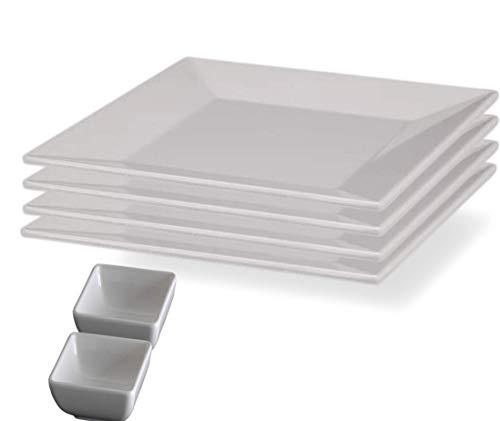 Square White Melamine Plates, Unbreakable Elegant Dinnerware Set (4 Dinner Plate 10 Inch With Bounes)