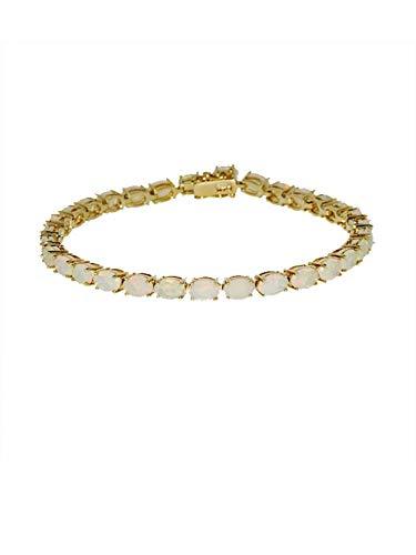 Terra Opalis Armband aus 375 Gelbgold mit Kristallopal, Tennisarmband mit Kastenschloss und Sicherheitsriegeln Länge ca. 19,5 cm