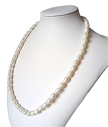 Collana Girocollo Donna in Perle di Fiume Naturale, Fatta a Mano, 50 cm