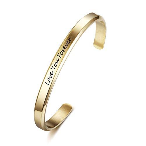 Grand Made Braccialetto inciso nome Braccialetto gioielli donna Bracciale acciaio inossidabile personalizzato con incisione desideri Regalo compleanno Gioielli donna (Oro, 3mm di larghezza)