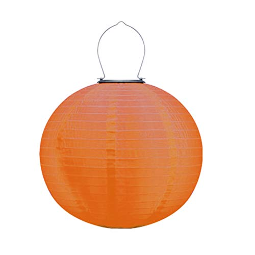 Uonlytech 12 Zoll wasserdichte außen led solar Laterne Faltbare hängen solar Lampe dekorative Laterne für hausgarten (orange)
