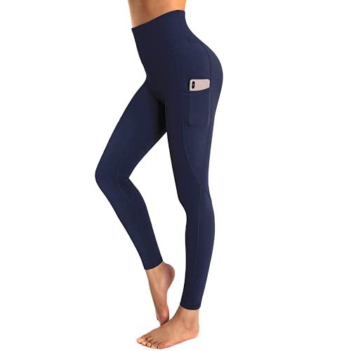 QTJY Leggings Deportivos de Cintura Alta para Mujer Pantalones de Yoga Leggings de Bolsillo de Entrenamiento de Moda Pantalones Deportivos de Yoga para Correr BS