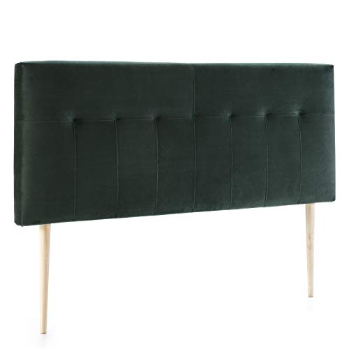 marckonfort Cabezal tapizado Nápoles 140x100 cm Verde Oliva, para Cama 135, Terciopelo, Patas de Madera, herrajes incluidos