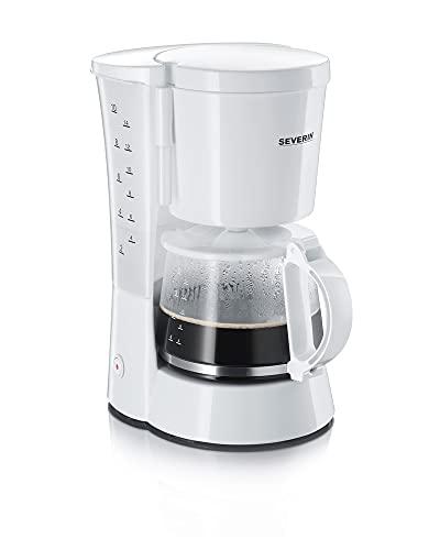 SEVERIN Kaffeemaschine, Für gemahlenen Filterkaffee, 10 Tassen, Inkl. Glaskanne, KA 4478, Weiß