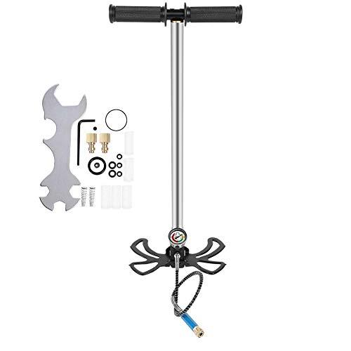 Liukouu Hochdruck-Handpumpe Tauchluftpumpe mit Manometer zum Nachfüllen von Sauerstoffflaschen, Tauchausrüstung, Edelstahl(S.)