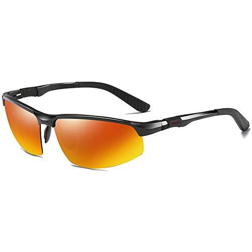 QCSMegy Gafas de sol para hombre, ciclismo, deportes, aluminio, magnesio, polarizadas, rojo, marrón, para conducir, color rojo