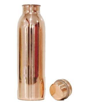 Botella de agua de cobre puro con tapa de Royal Sapphire (30 oz.) Ayurvedic - Vaso antibacteriano hipoalergénico y antibacteriano