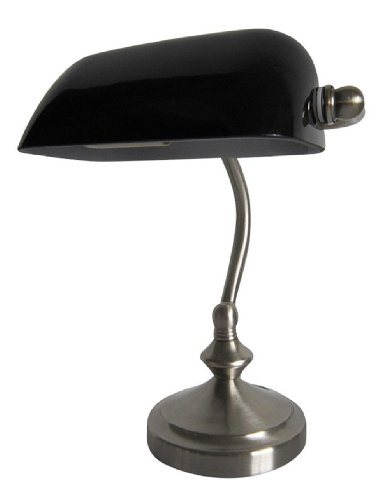 Simple Designs LT3057-BLK Brushed Nickel Traditional Banker's Lamp with Glass Shade, Black