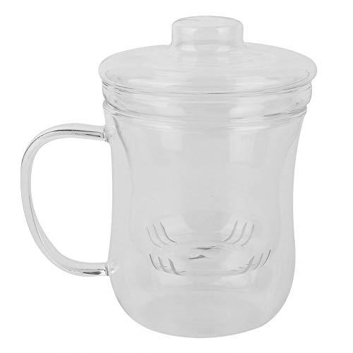 Ftory Taza de té de Vidrio con Tapa - Taza de Vidrio Transparente Resistente al Calor de 400 ml con Tapa de Filtro de té hogar, la Oficina