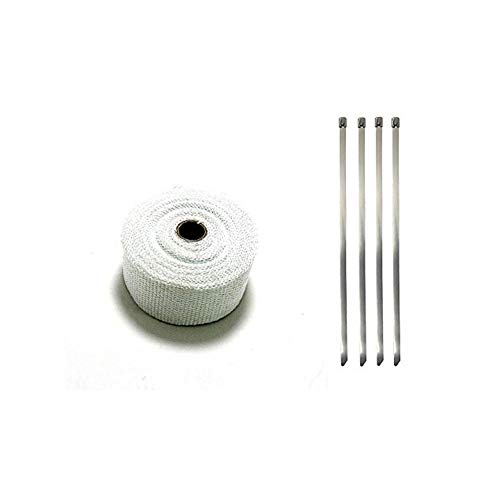 Schimer Hittebescherming tape basalt vezel uitlaat tape met kabelbinders, motorfiets hittebescherming tape 10M met kabelbinder voor spruitstukken thermoband elleboog band