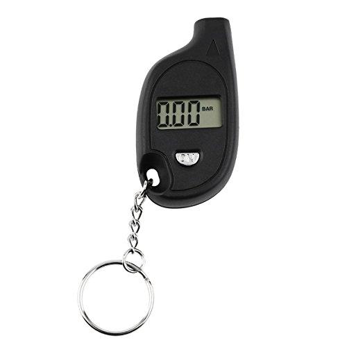 1pc tragbarer Mini-Schlüsselanhänger LCD Digital-Autoreifen-Reifen-Luftdruckmesser Auto-Motorrad-Testwerkzeug (mit Zellen-Lithium-Batterie) (Farbe: schwarz)