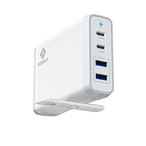 Cargador de pared USB C E EGOWAY 4 Puertos con 60W y 18W USB C PD Adaptador de Alimentación y Dos Puertos USB A - 12W
