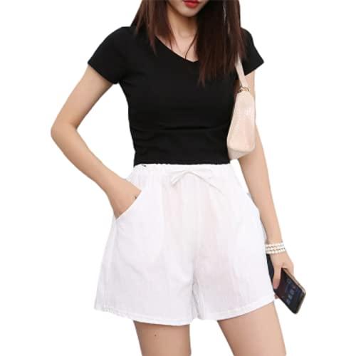Pantalones Cortos Casuales para Mujer Verano Simple Color sólido Pantalones Cortos Sueltos de Pierna Ancha Pantalones Cortos de Moda Streetwear S
