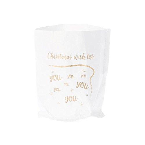 Riverdale windlicht/glas en waterdichte papieren zak met print - Christmas Wishlist - 10,5 cm - lichtzak lichtzak kerstmis kandelaar theelichthouder decoratie cadeau-idee decoratief idee
