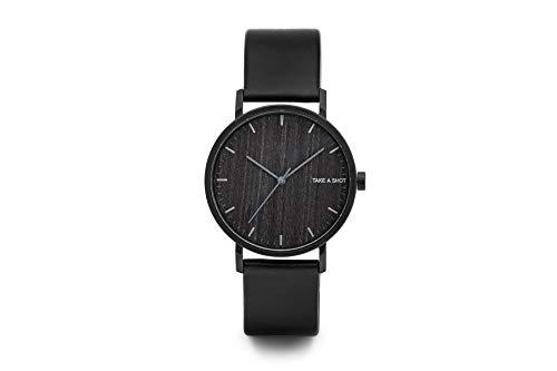TAKE A SHOT - Holzuhr mit Zifferblatt aus Holz, echtes schwarzes Lederarmband, Ø 40 mm analoge Armbanduhr mit Gehäuse aus Edelstahl - Lewis