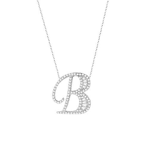 Kettenanhänger Diamant Halskette Frauen Alphabet Halskette Weibliches einfaches Schlüsselbein (B)