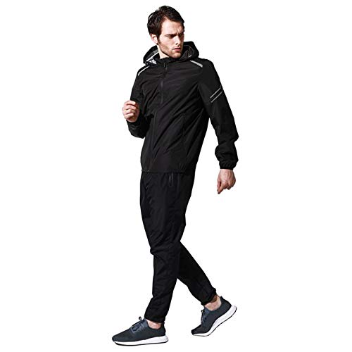 Xingsiyue ユニセックス2ピーススウェットスーツ、長袖フード付きジャケットスウェットサウナパンツジムワークアウトスポーツスーツ