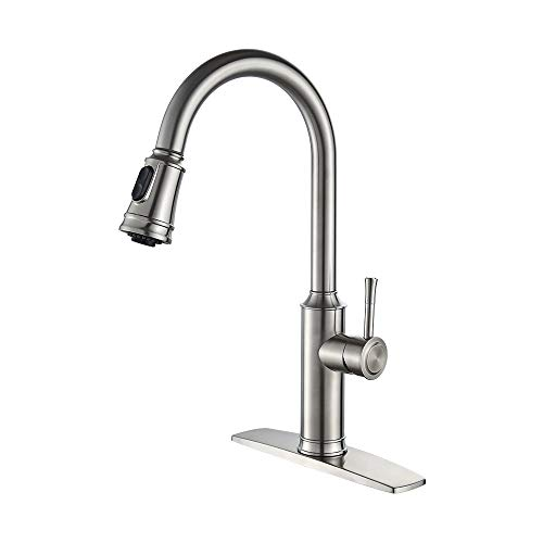 FORIOUS High Arc Kitchen Faucet with Sprayer, Stainless Steel Kitchen Faucet with Pull Down Sprayer, Single Handle Brushed Nickel Kitchen with Pull Out Sprayer