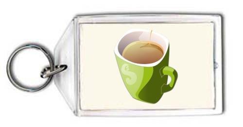 SHOPZEUS Schlüsselhalter mit der Grafik: zielony kubek herbaty - grün Tasse Tee