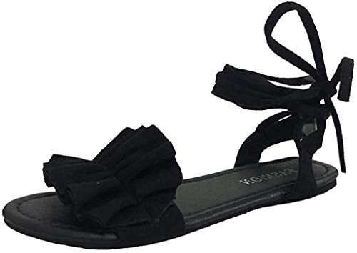 Minetom Damen Römische Sandalen Mode Beiläufige Strand Sommer Flache Schuhe Boho Riemchen Elegant Blume Peep Toe Sandals Schwarz 41 EU