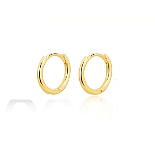 R-Win 925 Sterling Silver Round Hoop Earring Womens Mens Jewelry Gift 8 10 12 mm Black Gold Yellow Silver Earrings (8MM, Yellow)