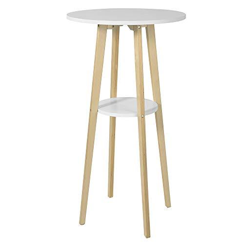 SoBuy FWT58-WN Bartisch mit 2 Tischplatten Stehtisch Bartresen Tresentisch Küchentheke Küchenbar rund Weiß/Natur BHT ca.: 60x112x60cm